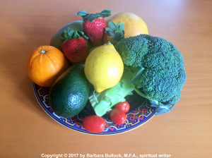 My plate - filled with high vibrating fruits and vegetables